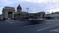 St. Petersburg time-lapse photography, view of the Kazan Cathedral and Nevsky Prospect video