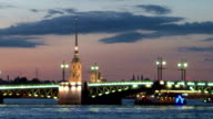 St. Petersburg.Palace Bridge in the white night video