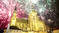 St. Vitus Cathedral (Roman Catholic cathedral ) and holiday fireworks  -- Prague and Hradcany, Czech Republic video