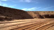 Stabilized shot in 4x4 truck .The way go to Antelope Canyon. video