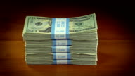 Stack of 20 Dollar Bills video