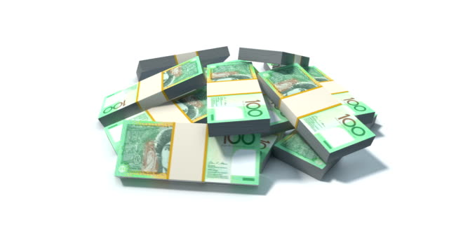Stack of Australian Dollar bills. video