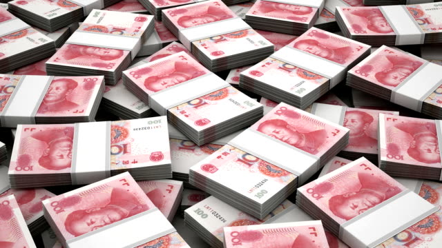 Stack of Chinese Yuan video