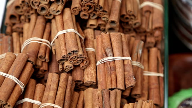 Stack of cinnamon in Turkish bazar video