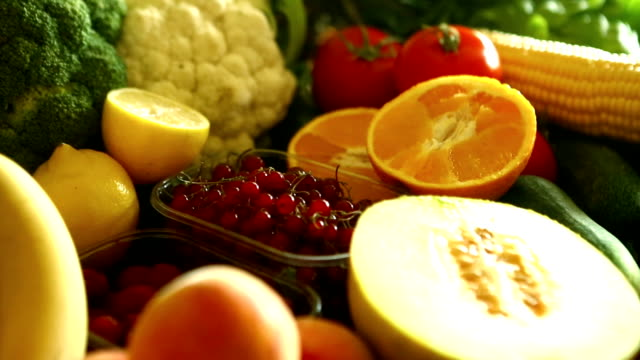 Stack of fresh fruits and vegetables. video