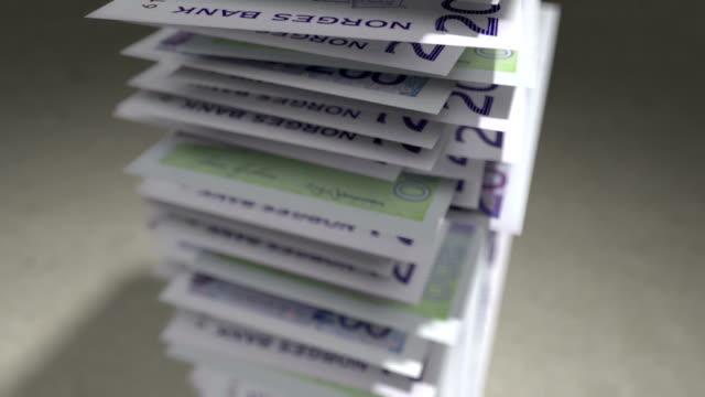Stack of Norwegian krone bills. video