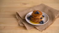 Stack of pancakes with fresh blueberry video