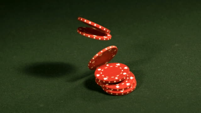 Stack of poker chips, slow motion video
