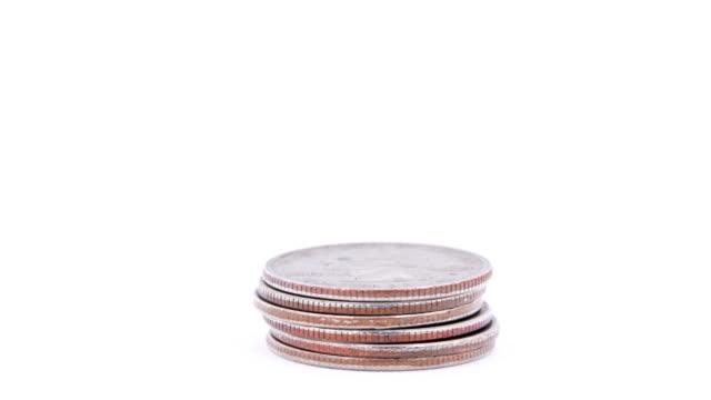 Stack of Quarters Rising-Isolated on White video