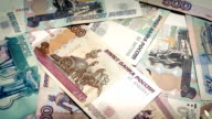 Stack Of Russian Rubles Rotating video