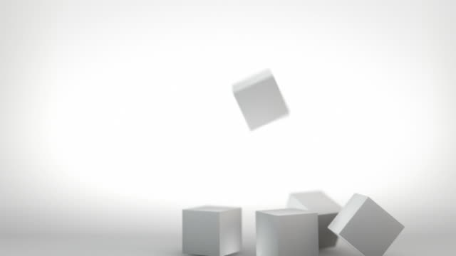 3D Stacking Cubes Animation - Grey (Full HD) video
