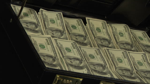 Stacks of 100 dollar bills in a briefcase video