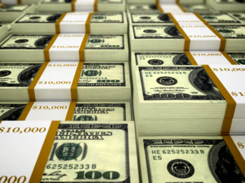 Stacks of 100 dollar bills - loopable, NTSC video