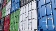 Stacks of colorful cargo containers. FullHD seamless loopable dolly clip, ProRes video