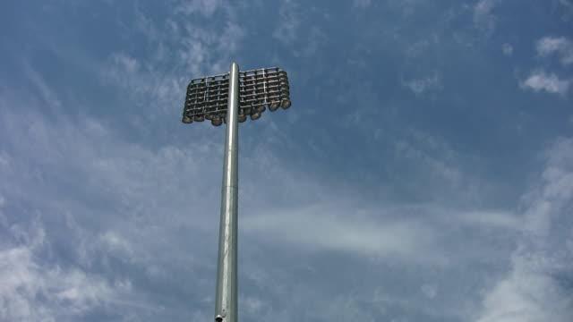 Stadium lights. Light timelapse clouds. video