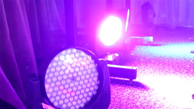 Stage lights at the concert with fog, Stage lights on a console, Lighting the concert stage, entertainment concert lighting on stage video