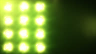 Stage lights, with sound. Green. Close-up. video