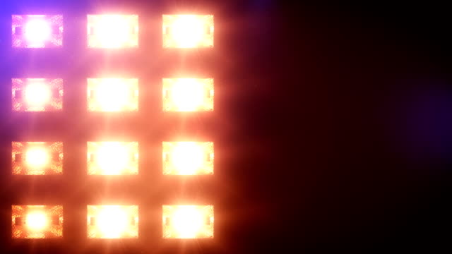 Stage lights, with sound. Square. Blue-Yellow. Close-up. video