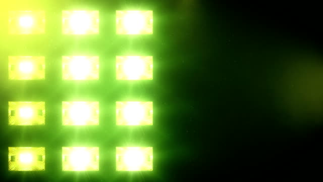 Stage lights, with sound. Square. Green. video