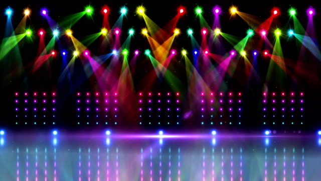 Stage under many colourful spotlights video