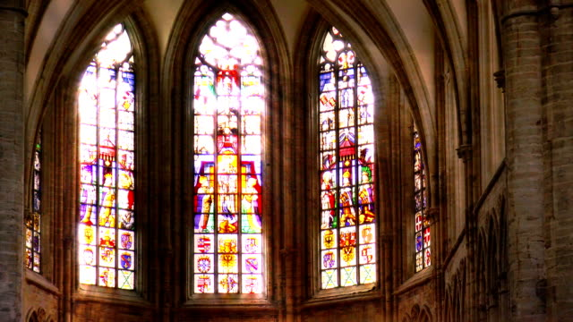 Stained Glass Light Rays - Brussels, Belgium video