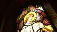Stained glass window of historic church video