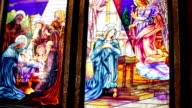 Stained-glass window depiction of Jesus' crucifixion in Sharm El Sheikh video