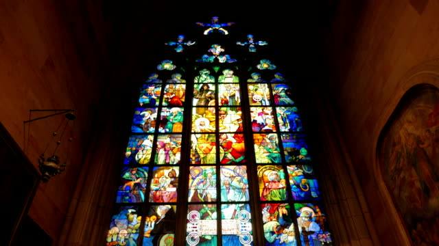 Stained-glass Window Detail in St Vitus Cathedral in Prague, Czech Republic (Czechia) video
