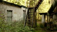 Stairs of the abandoned factory. Autumn daytime. Smooth dolly shot. video