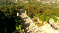 Stairs to Bom Jesus do Monte, Braga, Portugal aerial view video
