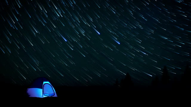 Star time lapse with a tent video
