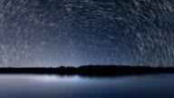 Star Trails, Beautiful Blue Night reflection video