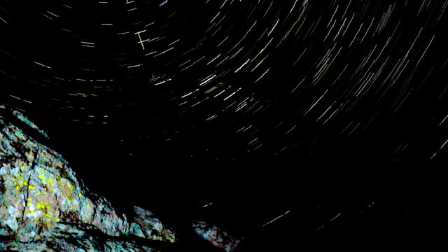 Star Trails Behind the rock. video