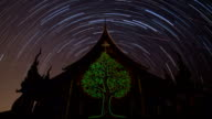 Star Trails in the night at temple. video