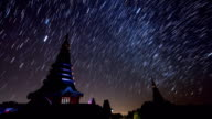 Star Trails Over King and Queen Pagoda Of Doi Inthanon Chiang Mai, Thailand video