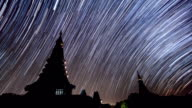 Star Trails Over King and Queen Pagoda Of Doi Inthanon Chiang Mai, Thailand (pan shot) video