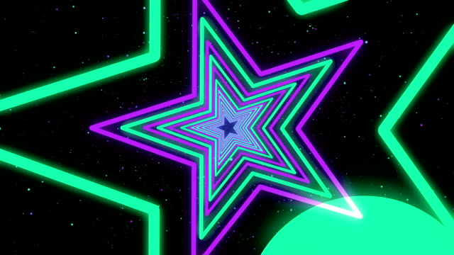 Star Violet Green Neon Streaks Loop Backgrounds video