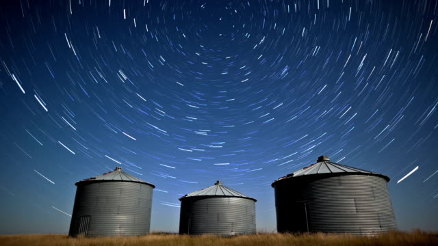 Starlapse over silos video
