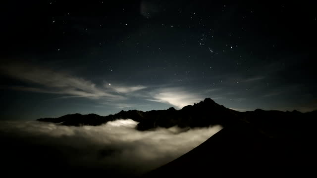 Starry night in the mountains - stars and clouds video