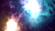 Starry outer space background with nebula. Colorful starry night sky outer space background. 3d animation video