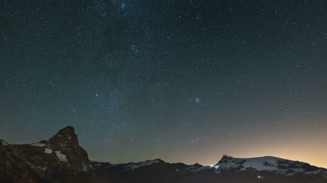Starry sky over Matterhorn, time lapse video
