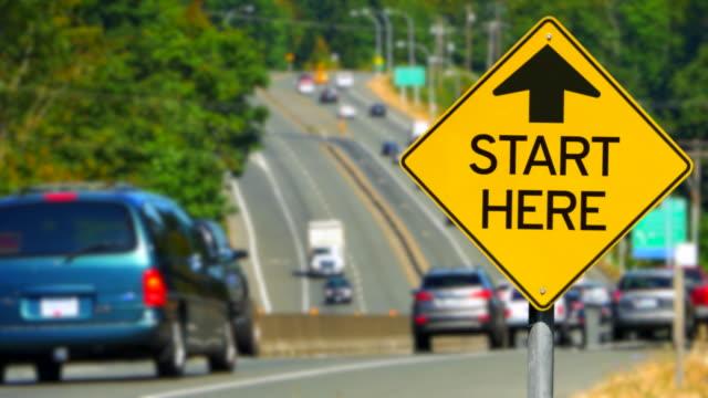 Start Here Sign, Yellow Diamond Sign, Seamless Looping video