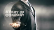 Start Up Company Businessman Holding in Hand New technologies video