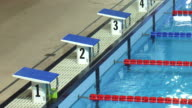 Starting blocks of an olympic swimming pool video
