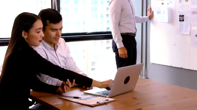 Start-up Meetings:Business people talks with colleagues use app conference of business full HD video format. video