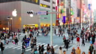 Static tilt-shift styled time-lapse shot of Ginza video