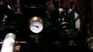 Stationary steam engine pressure gauge and flywheel video
