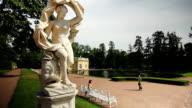 Statue in Empress Katherine park, Tsarskoe selo, St. Petersburg, Russia video
