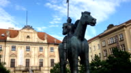 Statue of a horse with a rider in Brno in the Czech Republic. video