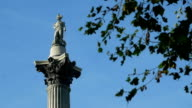 Statue of Admiral Nelson at the top of his column in Trafalgar Square. video